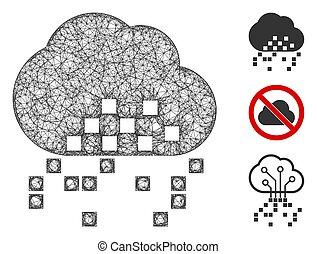 Cloud Dissipation Polygonal Web Vector Mesh Illustration - ...