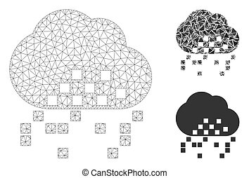 Cloud Dissipation Vector Mesh Wire Frame Model and Triangle ...