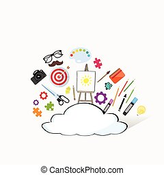 Cloud Doodle Hand Draw Sketch Concept Technology Internet Data Information Storage