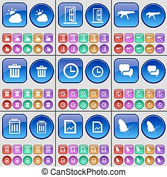 Cloud, Door, Semi, Trash can, Clock, Chat, Trash can, Graph, Butterfly. A large set of multi-colored buttons. Vector