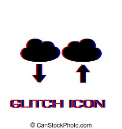 Cloud download and upload icon flat.
