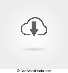cloud download black icon with shadow. vector illustration