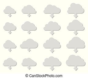 Cloud download collection with shadow on white background