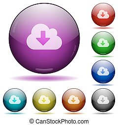 Cloud download glass sphere buttons