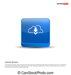 Cloud Download Icon - 3d Blue Button