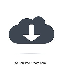 Cloud download icon. Download icon, digital cloud, music, video upload, media application, phone, computer