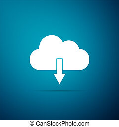 Cloud download icon isolated on blue background. Flat design. Vector Illustration