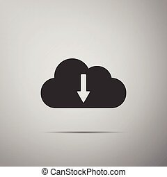 Cloud download icon isolated on grey background. Flat design. Vector Illustration