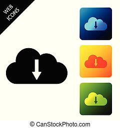 Cloud download icon isolated on white background. Set icons colorful square buttons. Vector Illustration