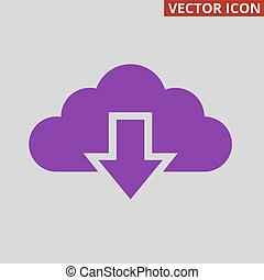 Cloud download icon on grey background.
