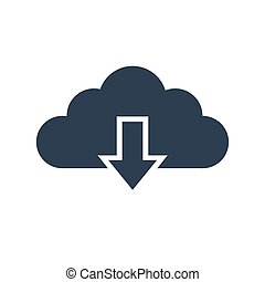 cloud download icon on white background.