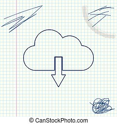 Cloud download line sketch icon isolated on white background. Vector Illustration