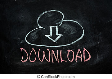Cloud download concept written on blackboard