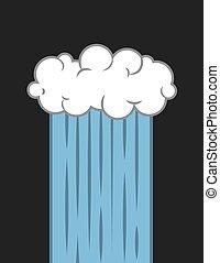Single cloud downpour stream of rain