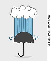 Cloud Downpour Umbrella - Cloud down pouring rain onto...