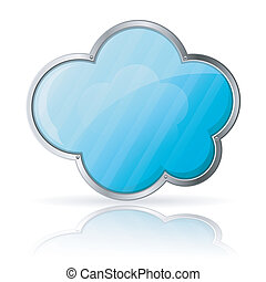 Cloud Computing Concept - Cloud with Reflection isolated on...