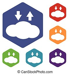 Cloud exchange icon, hexagon set