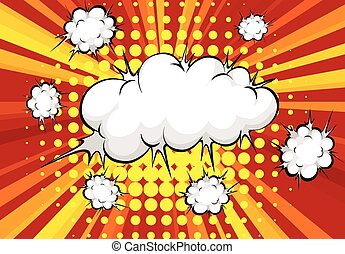 Cloud explosion with red and organge background