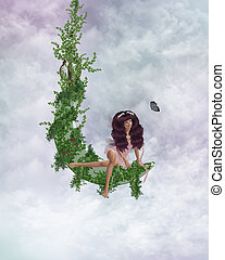 Cloud Fairy - Fairy sitting on a vined moon in the clouds