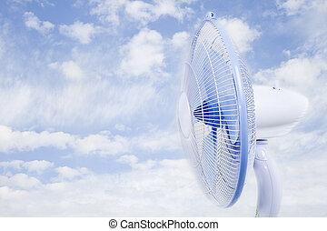 Cloud fan - Cloudy sky fan. The purpose of the cool air.