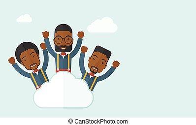 cloud., felice, tre, uomini affari