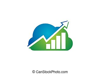 cloud finance graph arrow vector logo