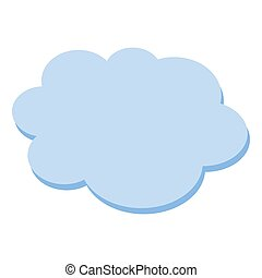 Cloud flat blue simple icon symbol on white