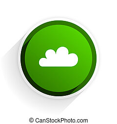 cloud flat icon with shadow on white background, green modern design web element