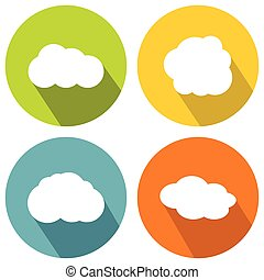 Cloud flat icons on color background with long shadow