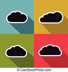 Cloud flat icons with long shadow on color background