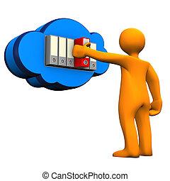 Cloud Folders Manikin - Orange cartoon character with cloud...