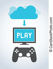 Cloud Gaming - Illustration of cloud gaming, also called ...