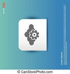 Cloud Gear Icon - Blue Sticker button