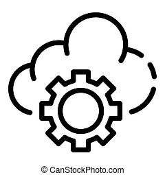 Cloud gear icon, outline style