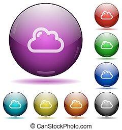 Cloud glass sphere buttons