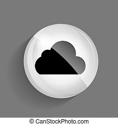 Cloud Glossy Icon Vector Illustration