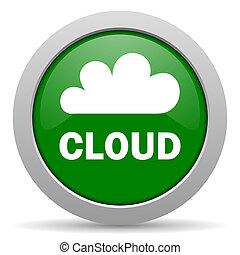 cloud green glossy web icon