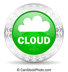 cloud green icon, christmas button