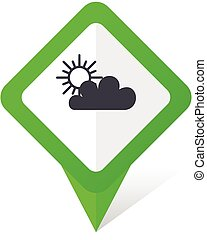 Cloud green square pointer vector icon in eps 10 on white background with shadow.