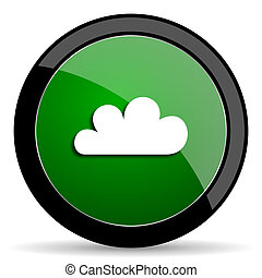 cloud green web glossy icon with shadow on white background