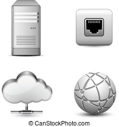 Cloud hosting - Cloud Computing Icons. Highly detailed...