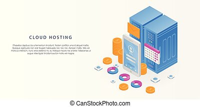 Cloud hosting concept banner, isometric style - Cloud...