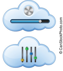 Cloud Hosting Control Elements. Vector Illustration