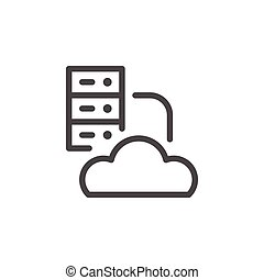 Cloud hosting line icon isolated on white. Vector...