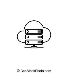 Cloud hosting line icon, seo and development, data base...