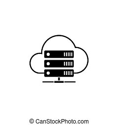 Cloud hosting solid icon, seo and development, data base...