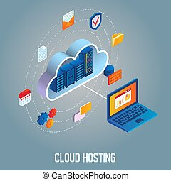 Cloud hosting vector isometric illustration - Cloud hosting...