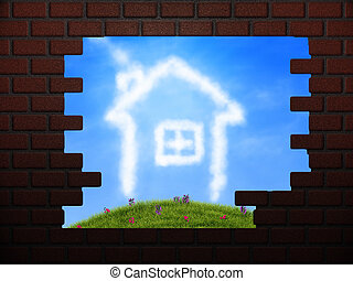 Cloud house in hole in brick wall