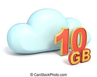 Cloud icon 10 GB storage capacity 3D rendering isolated on...