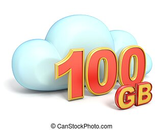 Cloud icon 100 GB storage capacity 3D rendering isolated on...